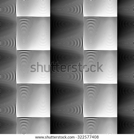 Design seamless wave geometric pattern. Abstract monochrome vertical background. Vector art. No gradient - stock vector