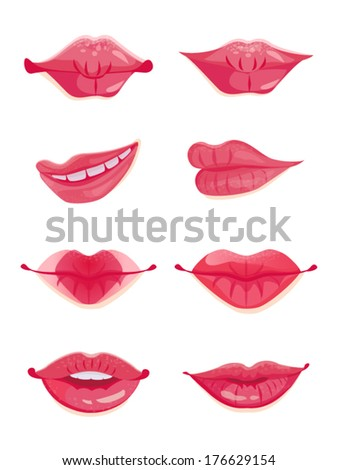 Design set of eight hot pink female lips. Beauty and make-up - stock vector