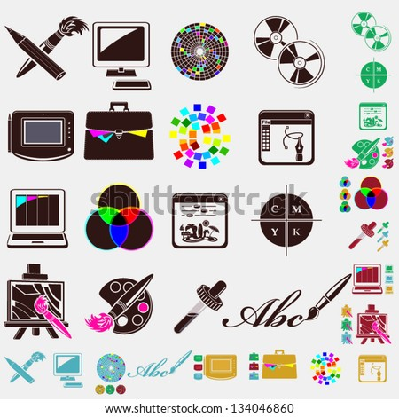 design set of icons - stock vector