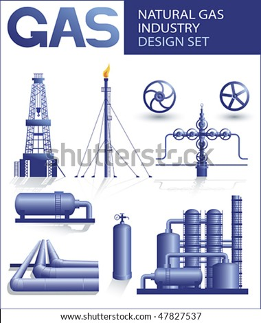 Design set of natural gas industry vector images - stock vector