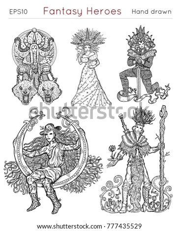 Design Set Fantasy Heroes Symbols Winter Stock Vector 777435529