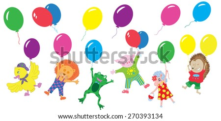 Design set with funny animals wearing cute clothing and flying on balloons, with separate balloons, isolated on white, flat style, hand drawn illustration - stock vector