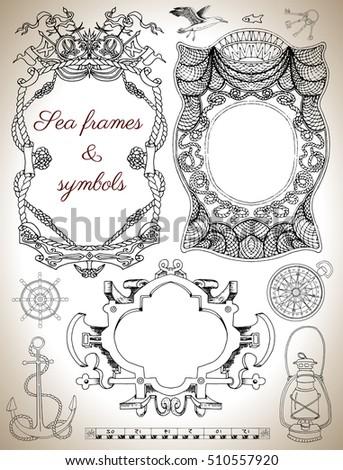 Design Set Graphic Drawings Sea Frames Stock Vector (2018) 510557920 ...