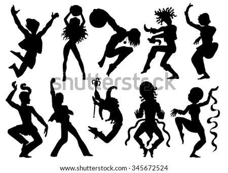 Design set with silhouettes of dancers and performers in action. Hand drawn illustration with dancing people