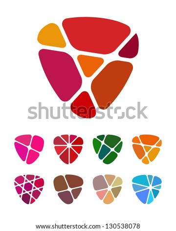 Design shield or heart logo element. Colorful abstract pattern, icon set. You can use in the jewelry shop, leisure club, and other commercial image. - stock vector