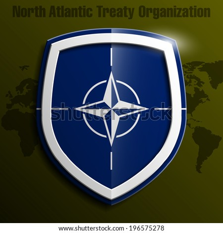 Design shield with the NATO flag. Vector illustration