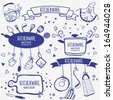 design silhouette of kitchenware doodles collection - stock