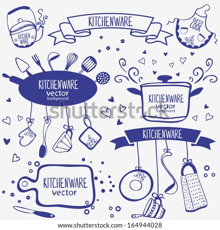 design silhouette of kitchenware doodles collection - stock vector