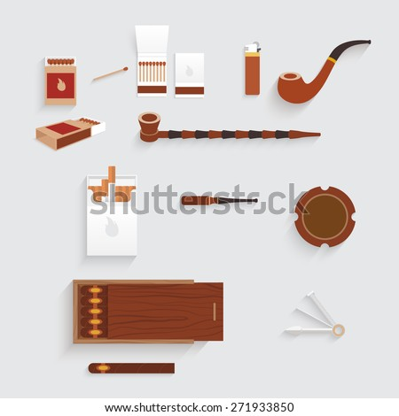 Design smoking set. There are tobacco pipes, cigarettes, matches, ashtray, tobacco - stock vector