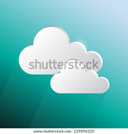 Design speech cloud shape on green blue background, stock vector