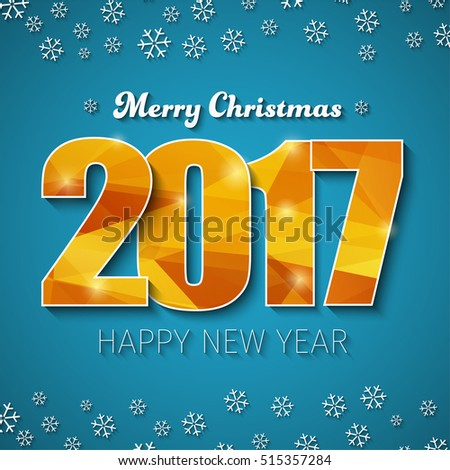 Design square web banner (background) Merry Christmas and Happy New Year. Template with a blue background and gold abstract polygonal figures in 2017 and snowflakes. Vector illustration.
