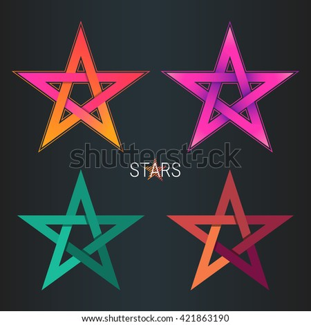 Design star logo element. Abstract star vector template set. - stock vector