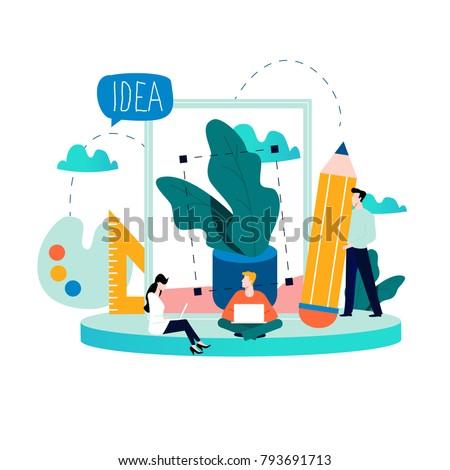 Design Studio Team, Designing, Drawing, Graphic Design, Creativity, Ideas  Flat Vector