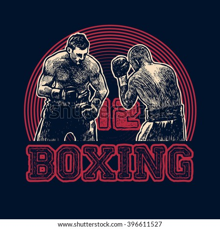 Design t-shirt Boxing with boxers. Boxing hand-written typography, t-shirt graphics, vector illustration.