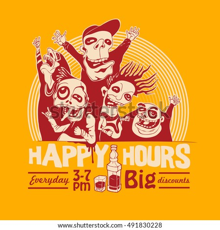 Design T-shirt Or Bar Poster Happy Hours With Happy Joyful Characters. Vector Illustration.