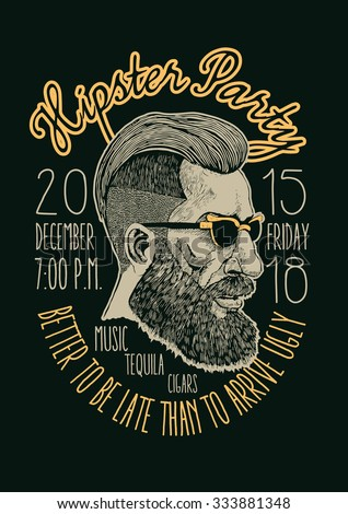 """Design t-shirt print """"Hipster Party"""" with hipster and fonts. vector illustration. - stock vector"""