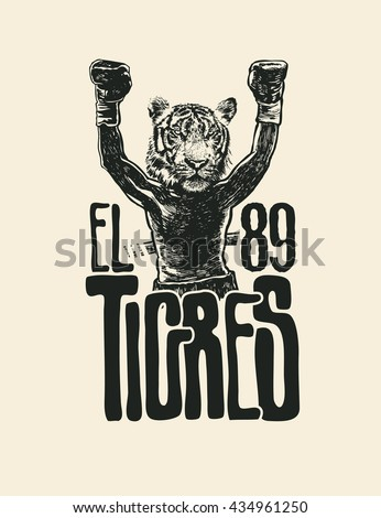 "Design T-shirt ""Tigers 89"" With Boxer With Tiger Head And Hand-Written Fonts. Vector Illustration."