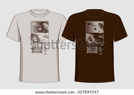 Design t-shirts with vintage printing sun, moon and stars. Good evening. Vector illustration