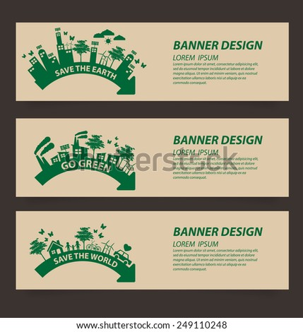Design template banner set. Ecology concept vector illustration. - stock vector