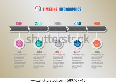 Timeline Circles Infographic Flat Vector Design Stock Vector ...