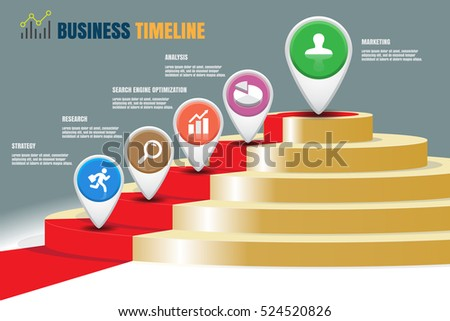 design template five staircase strategy steps stock vector 524520826
