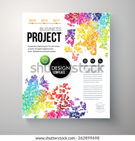 Design template for a Business Project with colorful rainbow colored geometric pattern, an annual date line and editable text space, vector illustration - stock vector