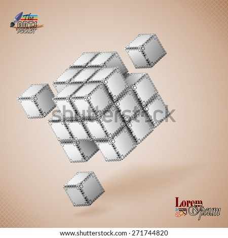 Design template for abstract background; Three dimensions cubes artistic designed with ornamental faces and squares in backdrop.  - stock vector