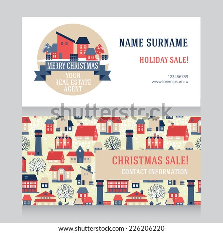 Design template real estate agent business stock vector 2018 design template for real estate agent business card and for real estate christmas sale vector reheart Image collections