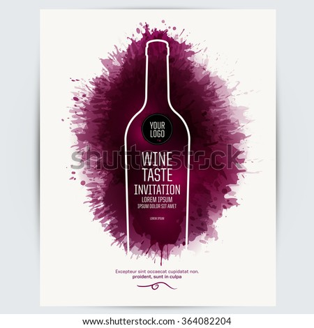 Design Template list, wine tasting or invitation. Illustration bottle of wine. Background with wine stains, expressive texture. Idea for your design. Vector - stock vector