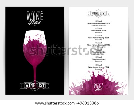 Design template list wine tasting invitation stock vector design template list wine tasting or invitation illustration glass of wine background with pronofoot35fo Images