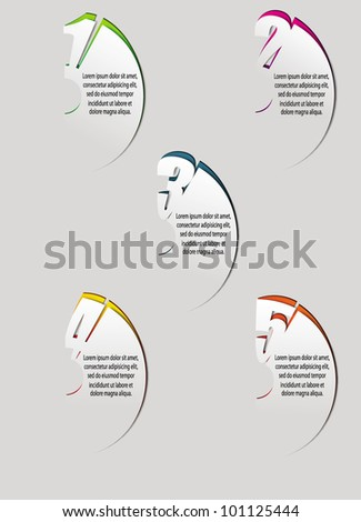 Design template numbered banners - stock vector