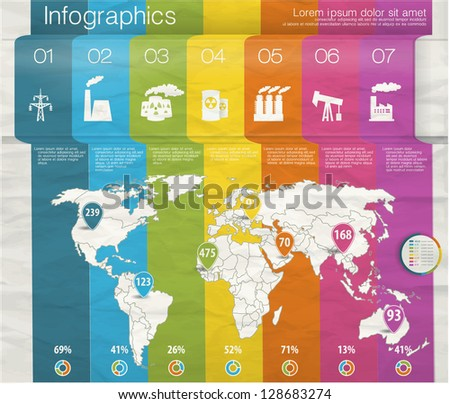 Design template numbered rainbow banners with industrial infographics and Information Graphics. Easy to edit country. Infographics - stock vector
