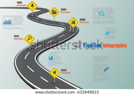 design template road map timeline infographic vector illustration