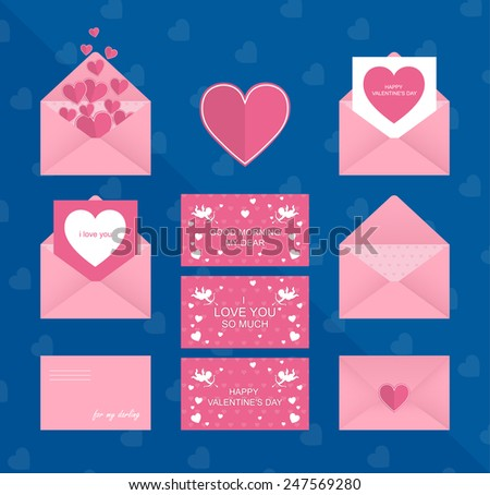 Design Template - Vector Geometrical Love Design element. Happy valentine's day or wedding card on romantic envelope - stock vector