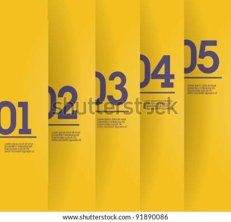 Design template - vertical yellow cutout lines / graphic or website layout vector - stock vector