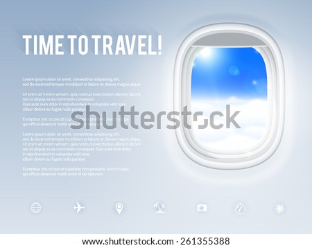 Design template with aircraft porthole, vector illustration. - stock vector