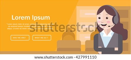 Design template with Costumer care theme ,suitable for editorial design and web page - stock vector