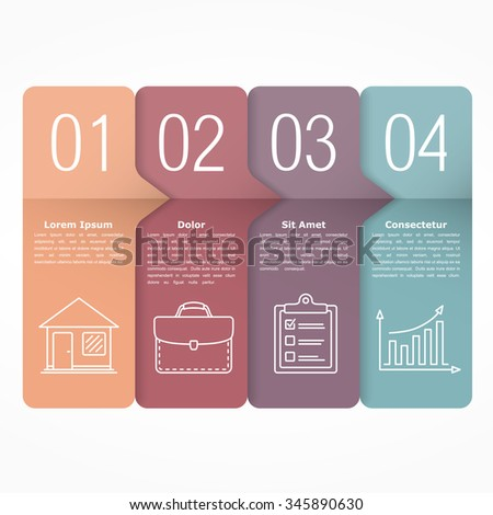 Design template with four steps, vector eps10 illustration - stock vector