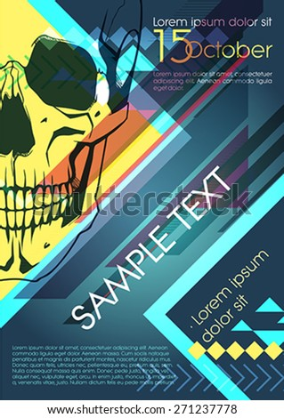 Design template with skull and place for text. Festival poster - stock vector