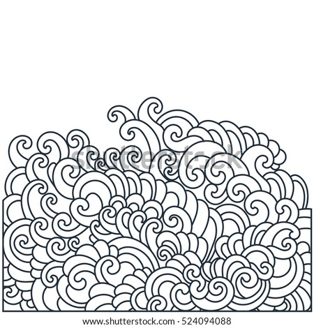 Design template with swirls pattern. Vector illustration hand drawn.  Thin line drawings. Abstract background.