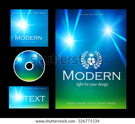 Design templates collection for banners, flyers, placards and posters. Sport & Football design. Spotlight card set.  Vector illustration - stock vector