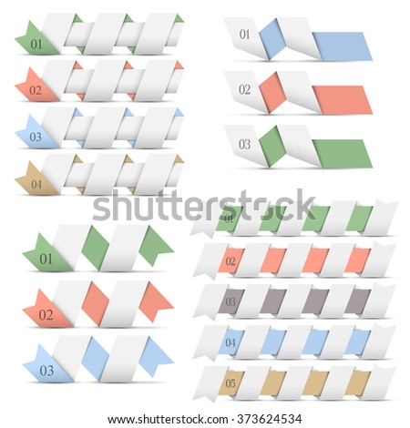 Design templates origami banners for infographics. Vector set - stock vector