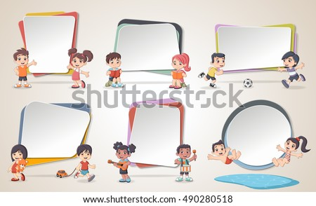 Design text box frame backgrounds with cartoon children. Infographic template design.