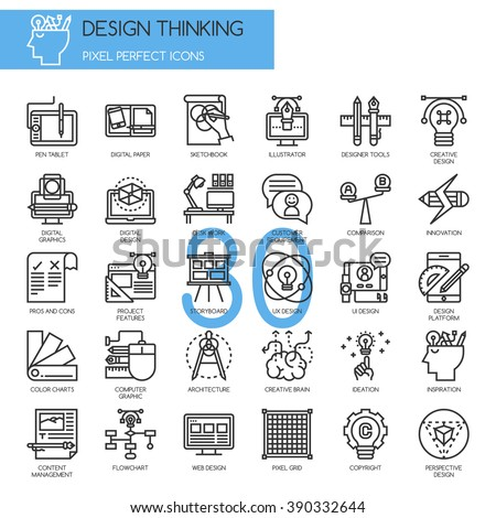 Design Thinking , thin line icons set , Pixel perfect icons - stock vector