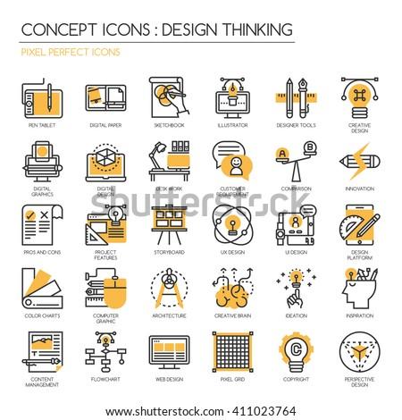 Design Thinking , thin line icons set , Pixel perfect icons ,Pixel Perfect Icons - stock vector