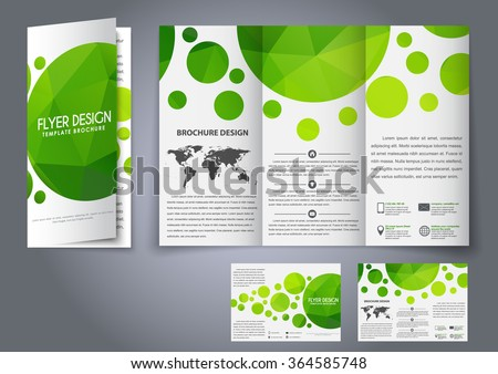 Design tri-fold flyers, brochures green polygonal elements. The corporate design for advertising, printing and presentation. Vector illustration.
