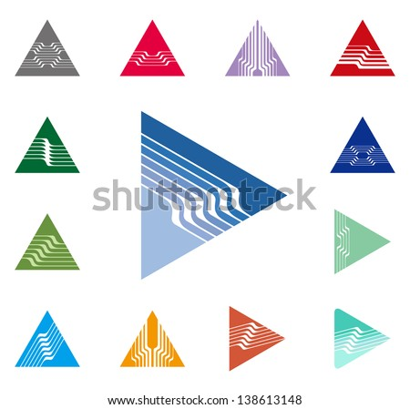 Design triangle, arrow vector logo template. Speed icon set. You can use in the construction, factories, communications, electronics, or creative design concepts - stock vector