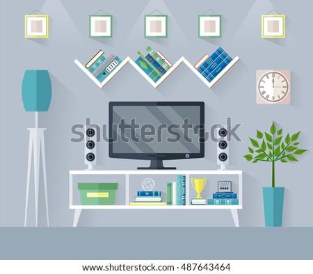 Living Room Zones design tv zone flat style interior stock vector 487643464