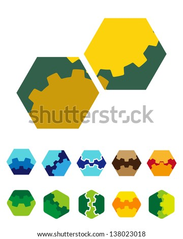 Design vector hexagonal logo element. Colorful abstract gears pattern, icon set. You can use the machinery, factories,games, app, electronic or creative design concepts. - stock vector