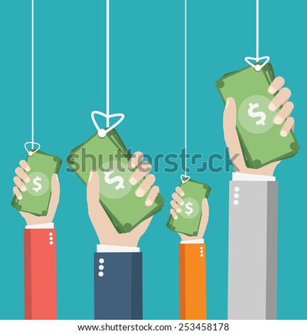 design vector illustration. Human hand with money and interface icons  - stock vector